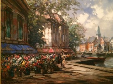 Flower Market 1990 34x44 Huge Original Painting - Pierre Latour
