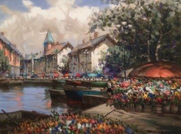 Bountiful Flowers 1996 53x43 Original Painting by Pierre Latour