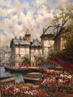 Flower Market/Canal 1996 48x36 Super Huge Original Painting - Pierre Latour