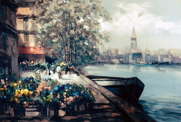 Untitled,Landscape 1990 42x31 Super Huge Original Painting - Pierre Latour