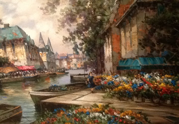 Flower Market 36x48 Original Painting - Pierre Latour