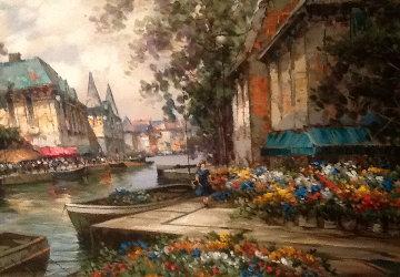 Flower Market 36x48 Super Huge Original Painting - Pierre Latour