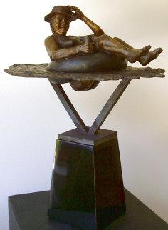 Dunk'n Cheeks Bronze Sculpture  2009 18 in Sculpture - Laurie Smith