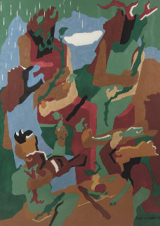 Celebration of Heritage 1991 34x42 Original Painting - Jacob Lawrence