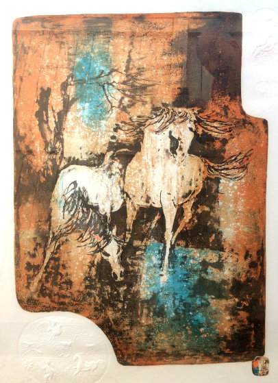 Horses in the Wind 1979 Limited Edition Print by  Lebadang