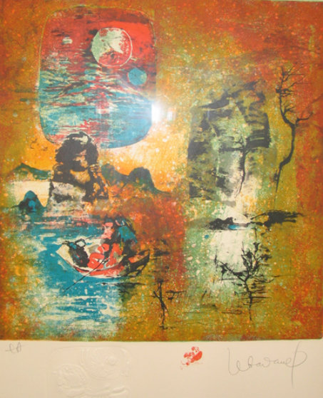 Boat and the Moon 1981 Limited Edition Print by  Lebadang