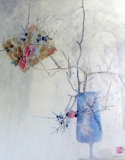 Branches in Blue Watercolor 1983 48x40 Watercolor by  Lebadang