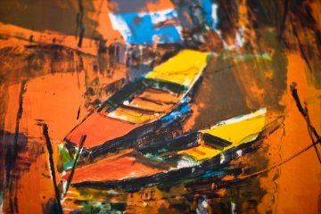Untitled (Two Gondolas) 1962 35x26 Original Painting by  Lebadang