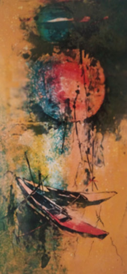 Deux Barques Rouges  - Two Red Boats 1970 Limited Edition Print by  Lebadang