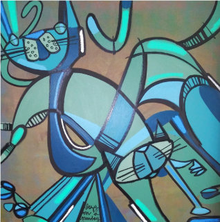 Lazy Sunday Afternoon 1976 2015 36x36 Original Painting - David Le Batard Lebo