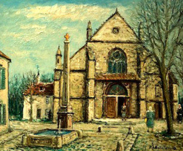 Old Gothic Church in France 1972 29x33 Original Painting by Alois Lecoque
