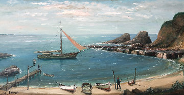 Untitled (Boat at Shore) 31x55 Original Painting - Alois Lecoque