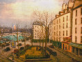 Paris Street Near Seine River 1967 34x42 Original Painting - Alois Lecoque