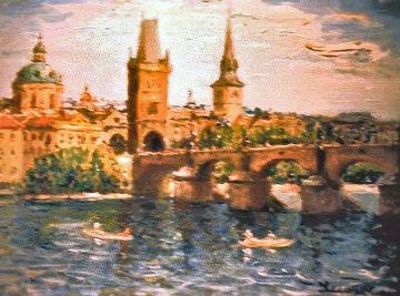 Paris Church Steeples 1968 20x24 Original Painting - Alois Lecoque