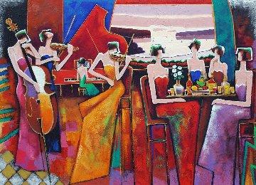 A Femme Gathering 30x40 Super Huge Original Painting - Charles Lee