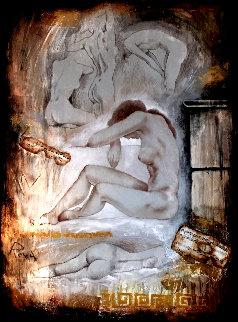 Untitled Female Nude 53x41 Super Huge Original Painting - Charles Lee