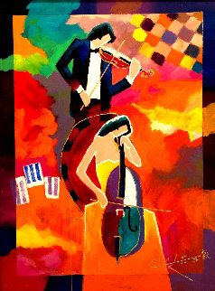 My Favorite Accompanist 2015 29x25 Original Painting by Charles Lee