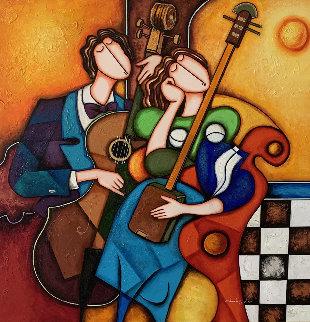 Untitled (Musicians) 58x58 Super Huge Original Painting - Charles Lee
