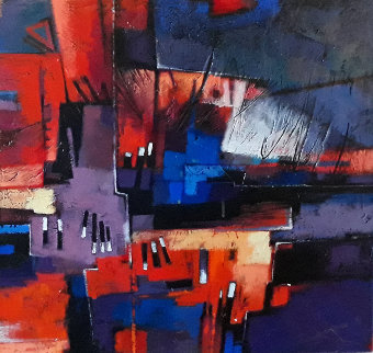 Side By Side City 1   33x33 Original Painting - Charles Lee