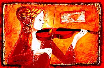 Violin Solo I 2015 32x41 Huge Original Painting - Charles Lee