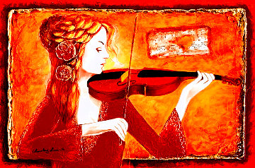 Violin Solo I 2015 32x41 Super Huge Original Painting - Charles Lee