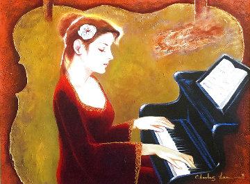 Love of Music 2012 35x41 Super Huge  Original Painting - Charles Lee