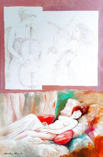 Musical Desires 2015 46x34 Huge Original Painting - Charles Lee