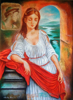 Untitled Portrait of a Young Woman With Red Sash 46x37 Original Painting - Charles Lee