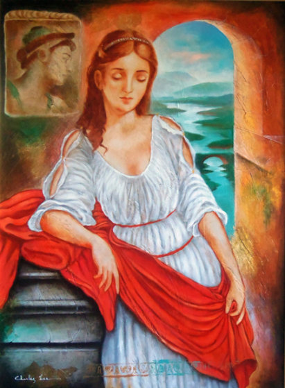 Untitled Portrait of a Young Woman With Red Sash 46x37 Original Painting by Charles Lee
