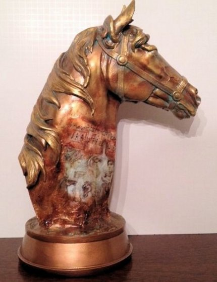 Noble Steed Painted Plaster Sculpture 2012 Sculpture by Charles Lee