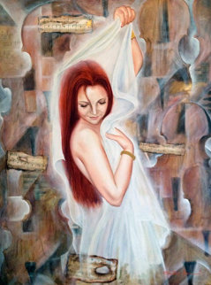 Untitled Portrait of a Woman 55x43 Super Huge Original Painting - Charles Lee