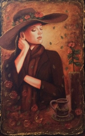 Quiet Tea Time II 2009 35x48 Original Painting by Charles Lee