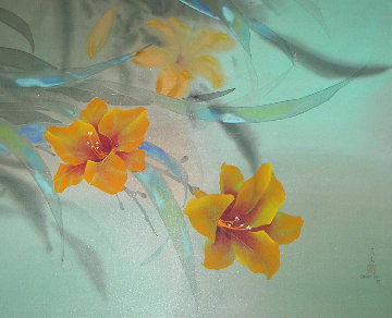 Tiger Lily on silk Watercolor 1978 26x32 Original Painting by David Lee