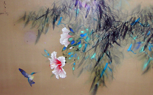 Hibiscus on Silk 1979 45x35  Original Painting by David Lee