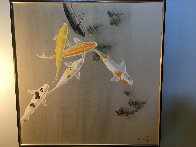 Six Koi Watercolor on silk 1970 30x40 Watercolor by David Lee - 2
