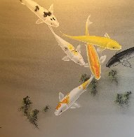 Six Koi Watercolor on silk 1970 30x40 Watercolor by David Lee - 0