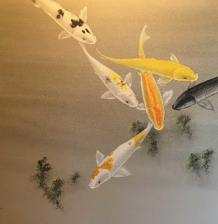 Six Koi Watercolor on silk 1970 30x40 Watercolor - David Lee
