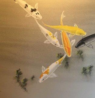 Six Koi Watercolor on silk 1970 30x40 Huge Watercolor - David Lee