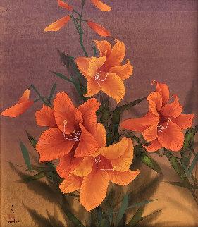 Untitled (Orange Flowers) Watercolor 27x23 Watercolor by David Lee