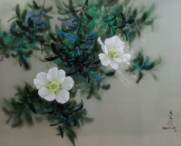 Untitled Painting (Moonflowers) 1980 24x30 Original Painting - David Lee