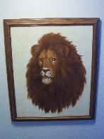Untitled (Lion) 27x23 Original Painting by David Lee - 1