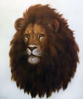 Untitled (Lion) 27x23 Original Painting - David Lee