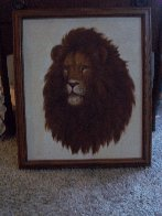 Untitled (Lion) 27x23 Original Painting by David Lee - 6