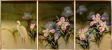 Spring Eternal Tryptich 52x103 Mural Original Painting - David Lee