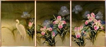 Spring Eternal Tryptich 52x103 Mural Huge  Original Painting - David Lee