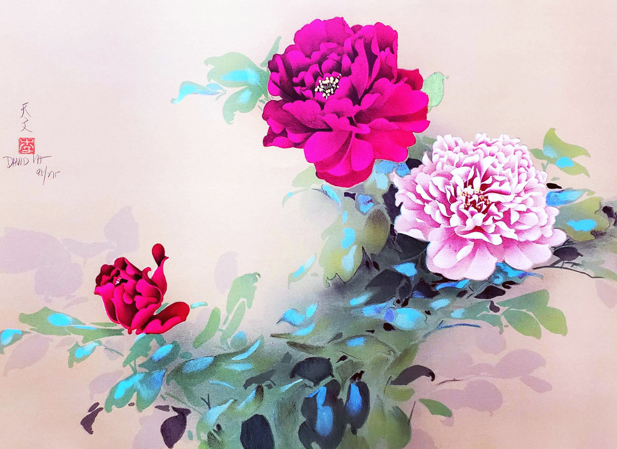 Red and Pink Flowers Limited Edition Print by David Lee