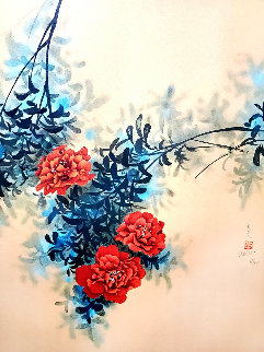 Red Flowers Limited Edition Print - David Lee