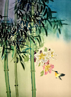Untitled Orchids and Hummingbird Limited Edition Print - David Lee