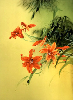 Untitled Orange Lilies With Beetle Limited Edition Print - David Lee