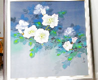 Untitled (White Blossoms) 1990 48x48 Huge Original Painting by David Lee - 1